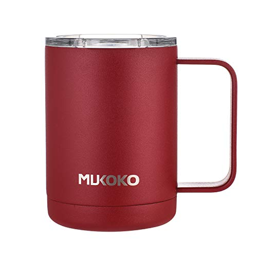 Coffee Mug 16oz Vacuum Insulated Camping Mug with Lid, Double Wall Stainless Steel Travel Tumbler Coffee Thermos Outdoor(14oz After Lid is Closed) Red