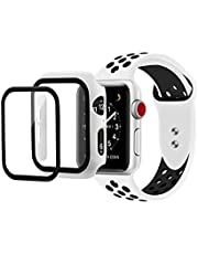 Strap 2 in 1 Silicone Sport Band Strap Watch Band & Protective Case Cover With Tempered Glass Size 44MM For Apple watch Series 4/5/6 44 MM (White & Black)
