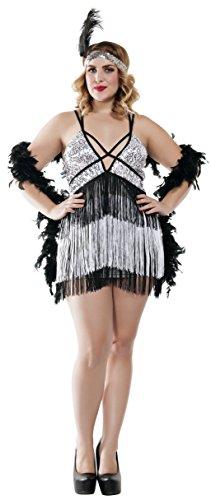 Starline Women's Plus Size Boardwalk Flapper Roaring 20s Costume Set, Silver/Black, 1X -