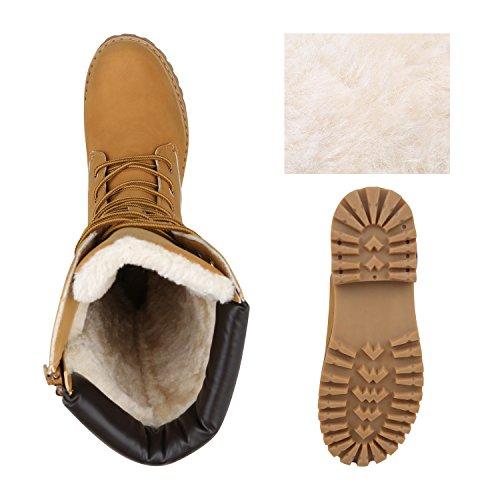 Stiefelparadies Damen Stiefeletten Worker Boots mit Blockabsatz Profilsohle Flandell Hellbraun Arriate