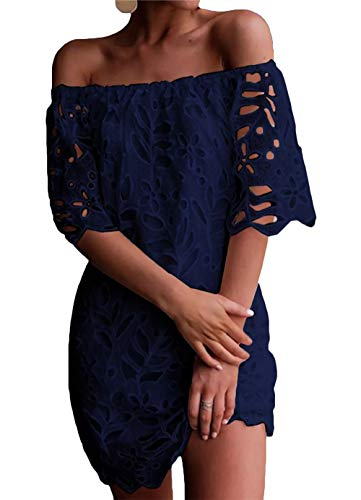 PRETTYGARDEN Women's Sexy Off Shoulder Vintage Floral Lace Flare Short Sleeve Loose Elegant Mini Dress (Navy, Medium)