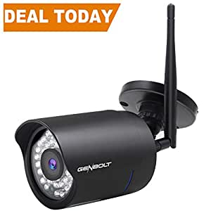 Outdoor WiFi IP Security Camera 1080P - GENBOLT Wireless Waterproof Home Surveillance HD CCTV Night Vision Bullet Camera, Motion Detection Email Alert, 50 Feet Night Vision, Adjustable Bracket, 128GB Storage Slot, 36pcs High Quality IR LED, 3 dBi Antenna, 3.6mm Wide View Angle Megapixel Lens, Automatically Recording,IP66 Weatherproof Heavy-Duty Housing, 1000+ Instagram Likes, 24-Hour Customer Support, 30-Day Money Back Guaranteed, 2-Year Warranty (1080P)