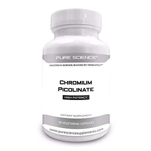 Pure Science Chromium Picolinate 500mcg – Maintain Healthy Blood Sugar and Cholesterol Levels – 50 Vegetarian Chromium Picolinate Capsules For Sale