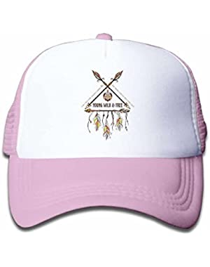 Dreamcatcher with Arrow Mesh Hat for Boys&Girls Cool Adjustable Kids Cap Pink