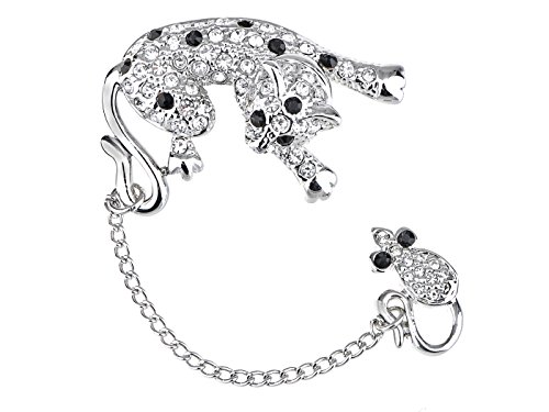 Alilang Womens Sparkly Black Clear Rhinestones Funny Cat with Dangling Mouse Lapel Brooch Pin
