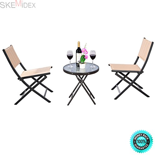 SKEMiDEX-3PCS Outdoor Patio Folding Table Chairs Furniture Set Bistro Garden Steel New. Ideal for patio, garden, backyard, pool side and other outdoor living space by SKEMiDEX