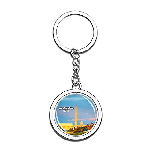 USA United States Keychain Washington Monument National Mall Washington Key Chain 3D Crystal Spinning Round Stainless Steel Keychains Travel City Souvenirs Key Chain Ring]()
