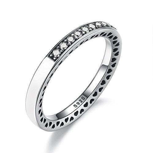 BAMOER 925 Sterling Silver Enamel Eternity Ring for Women Teen Girls Stack Ring (7)