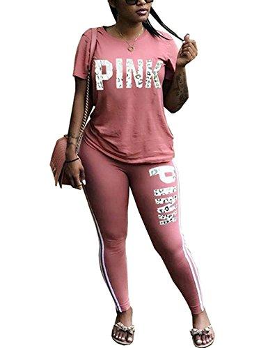 Salimdy Women Jumpsuit Short Sleeve T-Shirt Skinny Long Pants Rompers 2 PCS Tracksuit Pink XL
