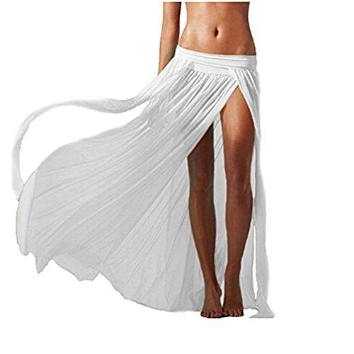 Hosaire Femme longue Jupe sans manches pour plage Robe plage Blanc
