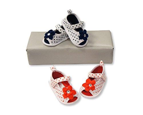 Bebé niñas zapatos de ocasión azul marino Talla:0/6 Months rosso