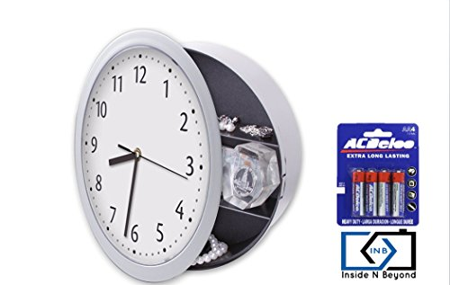 Inside N Beyond Wall Safe Clock, Wall Clocks With Hidden Compartment Secret Stash Box. Functioning Kitchen Clock To STASH CASH In The Secret Place. Unique Home Gift, AA Batteries Included