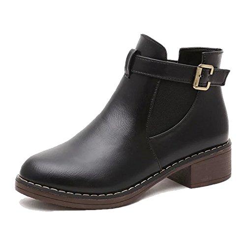 Dayiss Damen Schuhe Chelsea Boots mit Blockabsatz Stiefeletten Schwarz