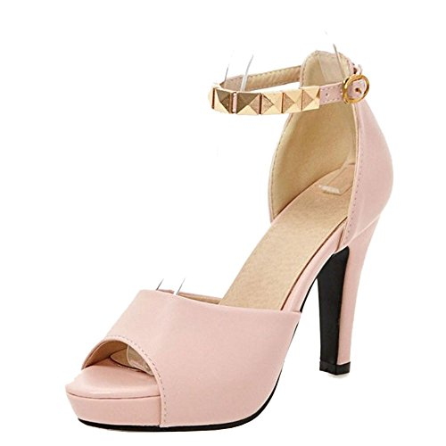 TAOFFEN Women Elegant Block High Heel Peep Toe Buckle Strap Pearl Sandals Pink