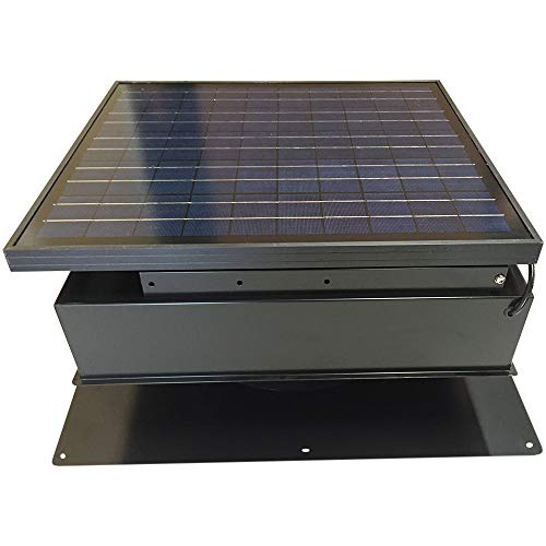 Remington Solar Attic Fan, Solar 30 Watt Solar-Powered, Roof Mounted with Bonus Thermostat and Humidistat Pre-Installed, Quiet Brushless 24V DC Motor Easy Installation Exhaust Fan, in Black