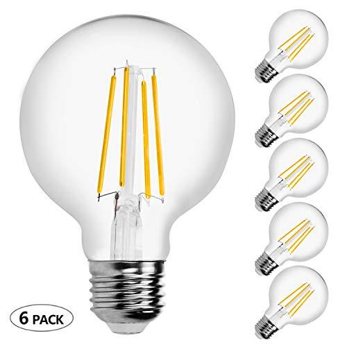 7W Dimmable LED Bulb,G25(G80),E26 Led Edison Bulbs,Soft Warm White 2700K,Ledspirit Filament Light Bulbs for Chandeliers,Ceiling Fans,Pendant Lighting,Hotel,Bar or Restaurant,6-Pack