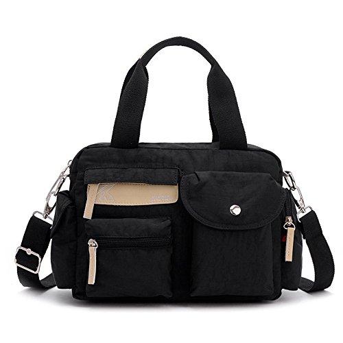 LKKLILY-Single bolso de hombro muelle de lona casual, bolsa de nailon verano diagonal, Qiangweihong negro