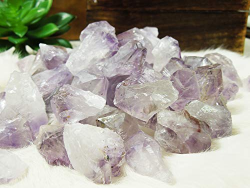 (1/2 lb Amethyst Points Stones Bulk - Raw Natural Crystals - Bulk Gemstones - for Jewelry Making, Wicca, Reiki, Crystal Healing, Wire Wrapping)