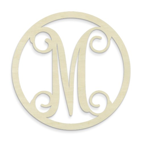 UNFINISHEDWOODCO Single Letter Circle Monogram-M, 19-Inch, - Gel Hung Fireplace