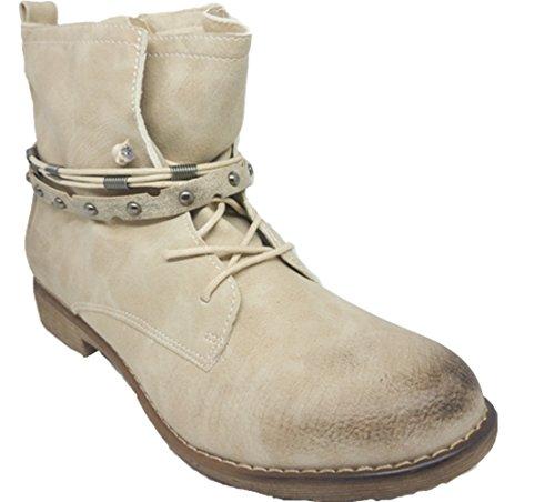 Damenschuhe | Stiefeletten | Boots | Herbststiefel | Reißverschluss | Nieten Beige