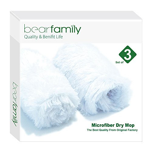 Microfiber Mop 18inch Dry Mop Refill For Hardwood Floors Peacock White Set of 3 by Bear ()