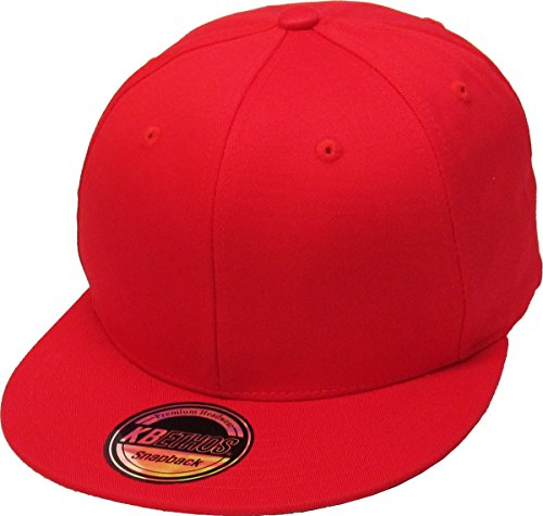 (KNW-1467 RED Cotton Snapback Solid Blank Cap Baseball Hat Flat Brim)