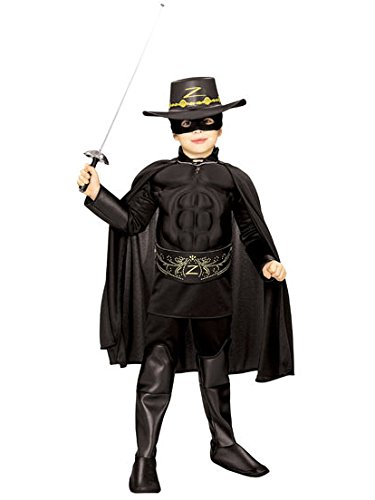 Rubie's Costume Zorro Deluxe Muscle Chest Child Costume, Large (Kids Deluxe Zorro Costume)