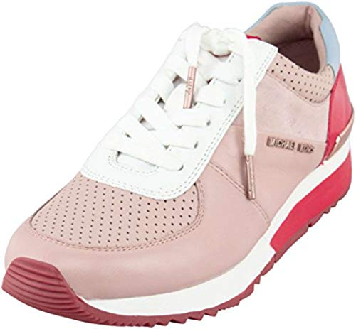 Low Leather Trainer - Michael Kors Womens Allie Trainer Leather Low Top, Ballet/Dark Sangria, Size 6.5