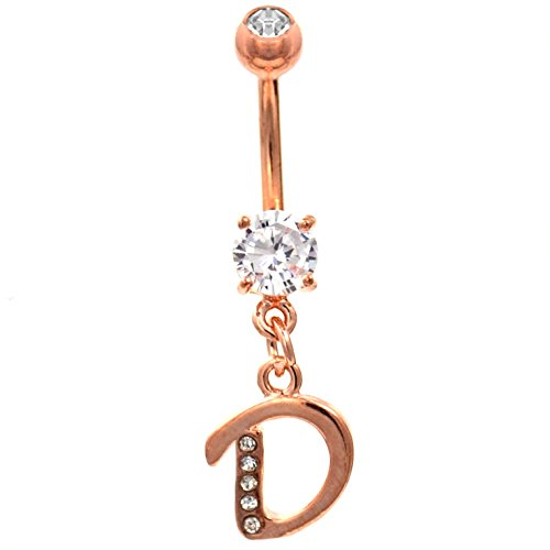 Initial Letter Clear Gem Dazzled Rose Gold-Tone Steel Belly Navel (Initial Belly Ring Letter)