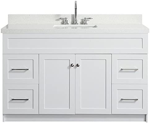 DKB Bradford Series 55 Inch Single Rectangle Sink Bathroom Vanity Cabinet in White Pure White Quartz Countertop 2 Soft Closing Doors 4 Full Extension Dovetail Drawers No Mirror