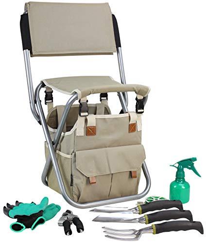 (Garden Tools Set Organizer | Garden Seat Folding Stool Gardening Chair Kneeler With Backing | Gardener Bag | Gardening Tools Set | Digging Claw Gardening Gloves Succulent Tool Set | Garden Supplies)