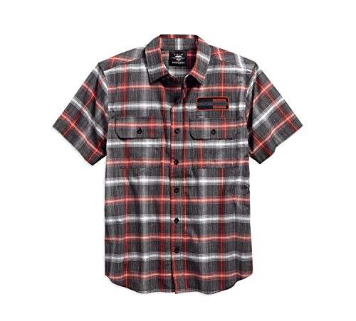 Shirt Harley Embroidered Davidson (Harley-Davidson Men's Classic Plaid Short Sleeve Garage Shirt 96121-18VM (2XL))