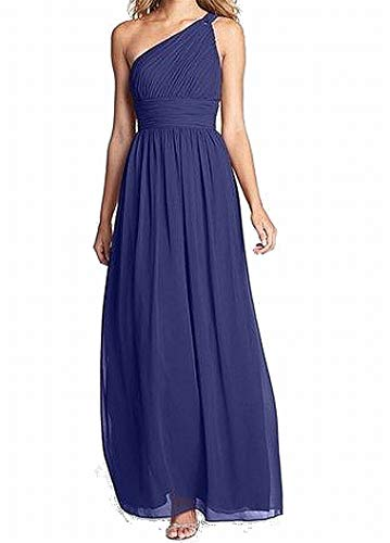 Donna Morgan Women's Rachel Long One-Shoulder Chiffon Dress, Midnight, 0