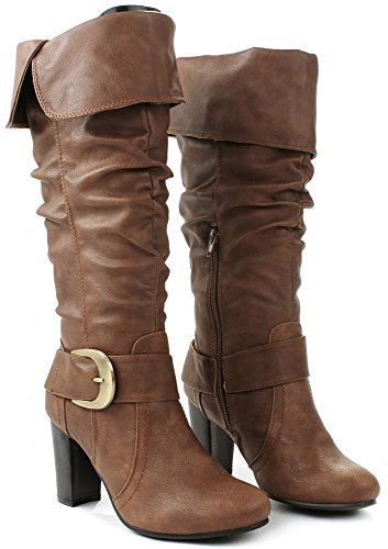 Bolide Slouch Foldable Cuff Buckle Strap Mid-Calf Knee High Heel Boots Camel uB6XweT