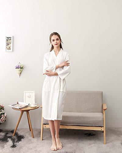 H Pigiama Notte Donna Cintura Vestaglia Manica Con Uomo 4 A Unisex V Da Bianco Camicia Scollo 3 Estivo Kimono Accappatoio Hiamigos PE6wHqrP