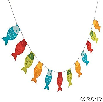 Fisherman Fishing Party Supplies Little Fisherman Tablecloth and Fish Pennant Banner Party Bundle