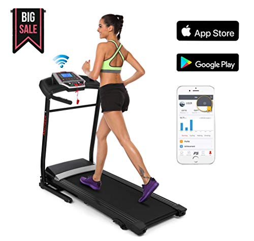 OppsDecor Bestlucky Folding Electric Treadmill,Power Motorized Fitness Running Machine Walking Treadmill APP Control for Home Gym Exercise (Black - 2.25 HP(APP Control))