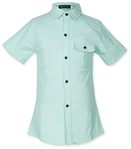 Holy Unicorn Solid Cotton Button Down Shirts For Todder Boys Short Sleeve Size 4-5 Green by Holy Unicorn