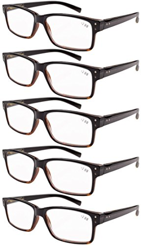 Eyekepper 5-Pack Spring Hinges Vintage Reading Glasses Men Readers Black-Yellow Tortoise +1.75