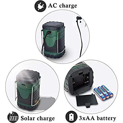 ZUYE Camping Lantern,Rechargeable Camp Light Solar LED Battery Powered 3 Charging Modes Camping Lamps