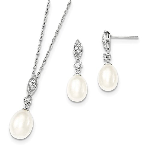 Mia Diamonds 925 Sterling Silver -9mm White Fw Cultured Pearl Cubic Zirconia Neck and Earring Set 10k Gold Fw Pearl