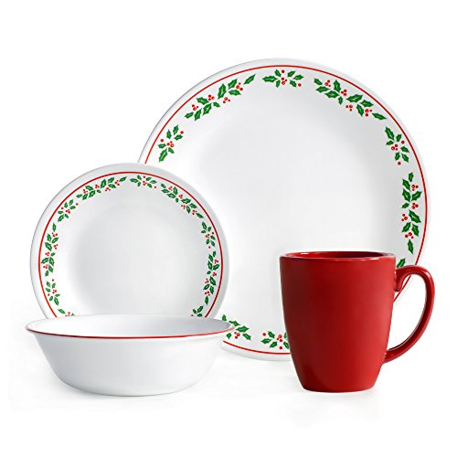 Corelle Livingware 16-Piece Dinnerware Set, Winter Holly, Service for 4