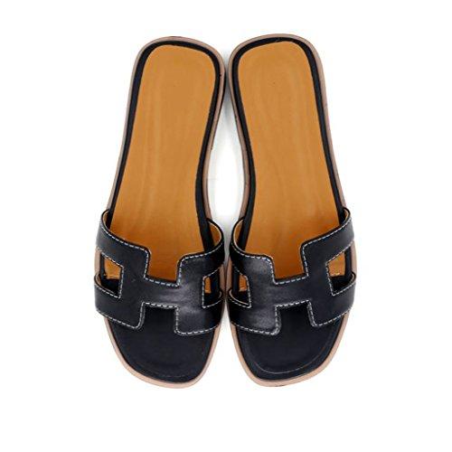 de Estilo AJZGF Zapatillas Planas Cuero de Negro Nuevo Zapatillas Moda cqa0naw7xt
