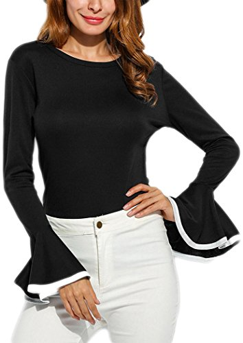 Women Casual Bell Sleeve Shirt Round Neck Long Flare Loose Fit Solid Blouse Tops (L, (Bell Skirt)