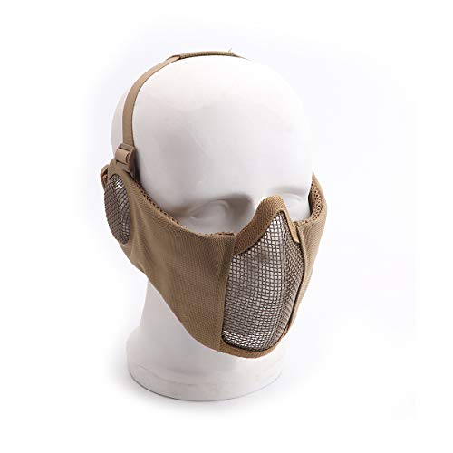 Reikirc Foldable Half Face Airsoft Mask with Ear Protection for Military Tactical Lower Face Protective (Tan)