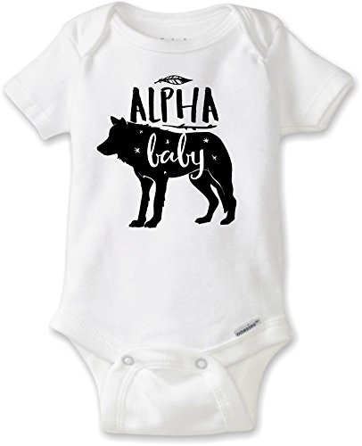 DoozyDesigns Alpha Baby - Wolf Baby Bodysuit Unisex (3-6M Gerber Onesies Short Sleeve Bodysuit) ()