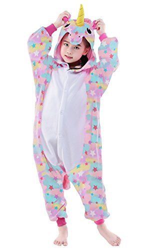 "NEWCOSPLAY Unisex Children Unicorn Pyjamas Halloween Costume (6-Height 47-50"", Colorful)"
