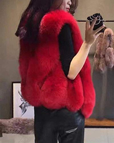 Hipster Colori Chic Casuale Vintage Di Autunno Rot Donna Pelliccia KRHFv4Hqp