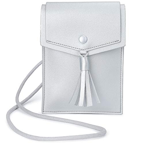 - Kevancho Small Cell Phone Purse Wallet Crossbody Bag with Adjustable Strap for Girls Women (Silver)