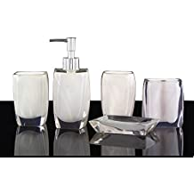 Bathroom Accessory Set Resin Soap Dish, Soap Dispenser, Toothbrush Holder & Tumbler (No tray, White)